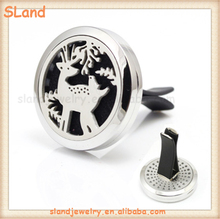 Forest Fawn deer Jewelry 316 Stainless Steel Car Diffuser OEM pattern/LOGO Aroma Essential oil locket with clip for Air Vent