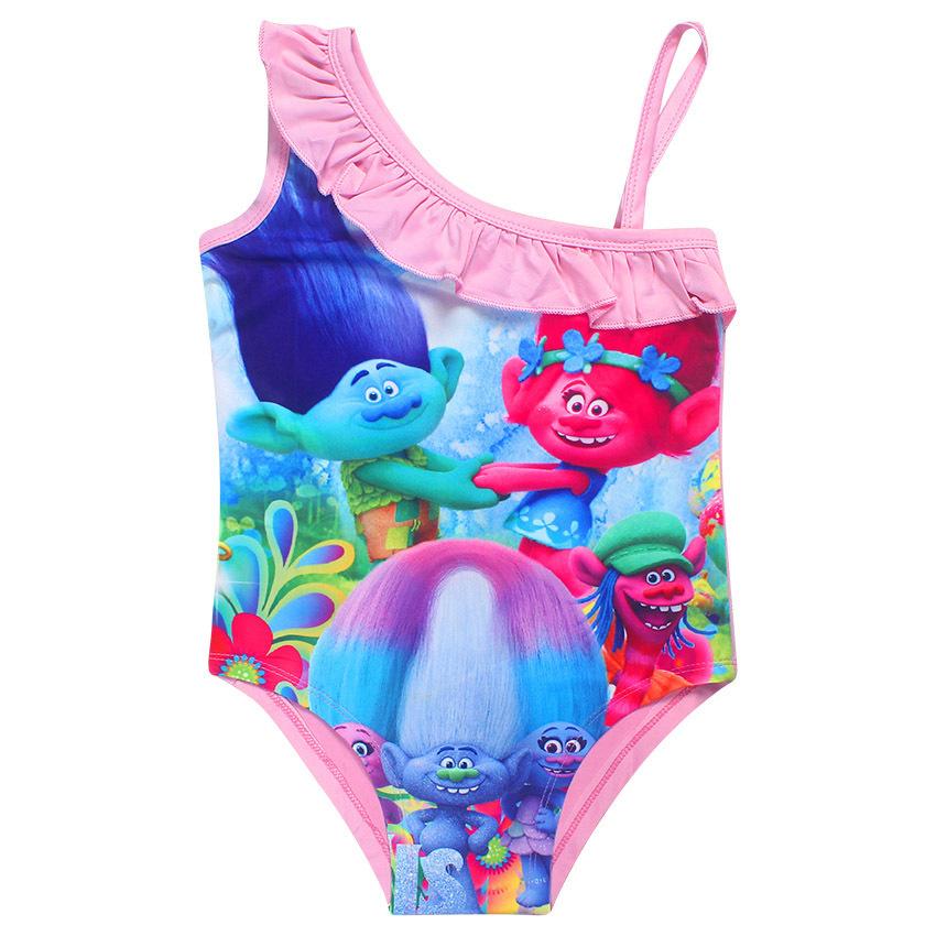 3544560101 One Piece Child Litter Kids Trolls Girls Swimwear Bikini Kids Swimsuit For  Girls Shoulder Bathing Suit Baby Swimwear