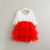 White And Red Tulle Dress Toddler Boutique Girl Dress Wholesale Baby Clothes Fashion Girls Party Lace Dresses