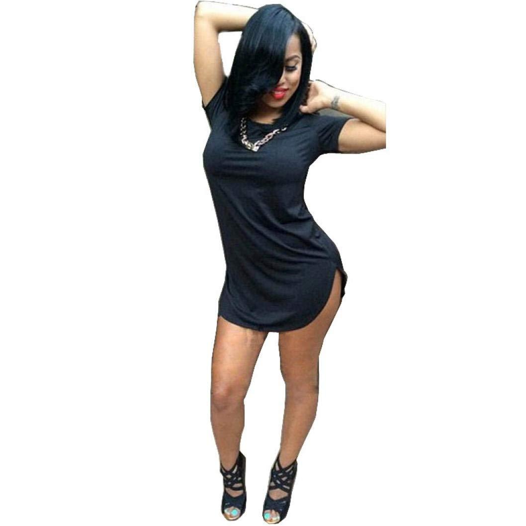 Women Dress, ღ Ninasill ღ Hot Sale ! Short Sleeve Side Slit Casual T Shirt Party Exclusive Mini Dress Skirt Blouse Tops (M, Black)