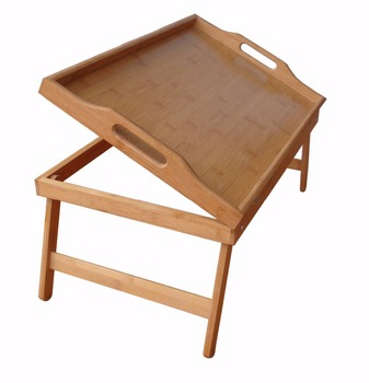 Folding Bamboo Bed Table Serving Lap Tray With Stand And Handle