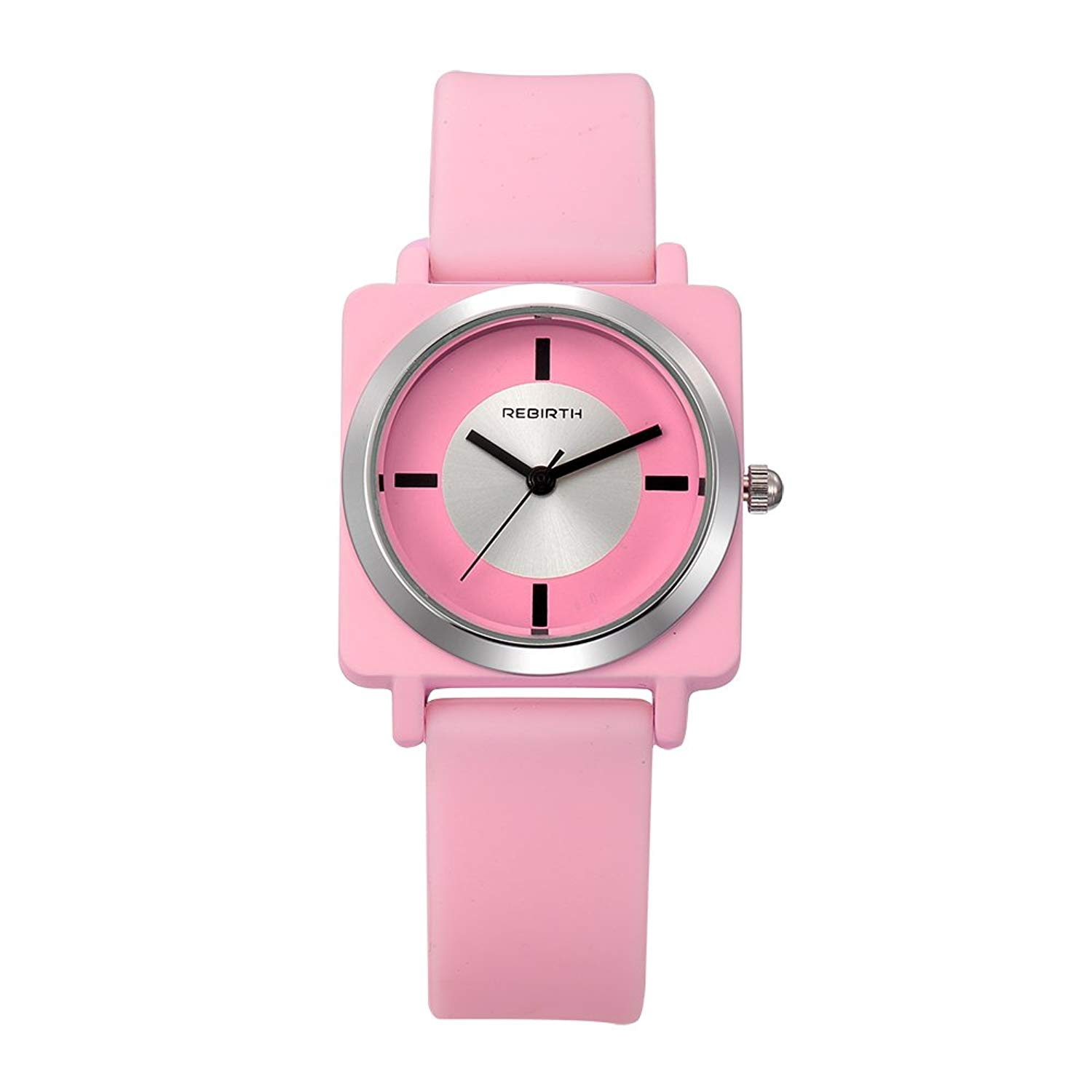 Bosymart Square Face Silicone Strap Quartz Women Girl Jelly Wrist Watch