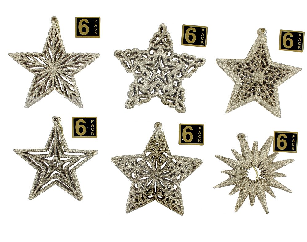 "Elegant Fancy Shatterproof Sparkling Shimmering Christmas Glitter Holiday Variety Star Shaped Ornaments, Gold, Medium, 216 Count, 4.5"" x 4.5"""