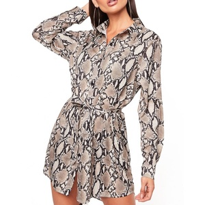 Wholesale Lace-cp Snakeskin Printed Shirt Dress