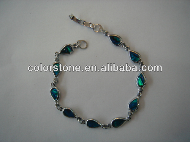 Beautiful Handmade blue Tear Drop Bracelet,paua shell teardrop anklet,abalone shell tear drop jewelry