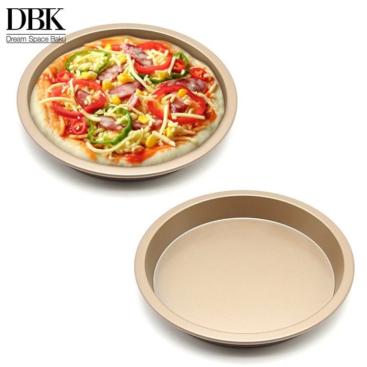 High quality 8 inches gold metal Carbon steel Non Stick Quiche Tart Pan Tart Pie Pan baking bakery Round Pizza Pan
