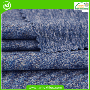Full Dull 100% Polyester Heather Cationic Single Jersey Knit fabric for Sports Tops