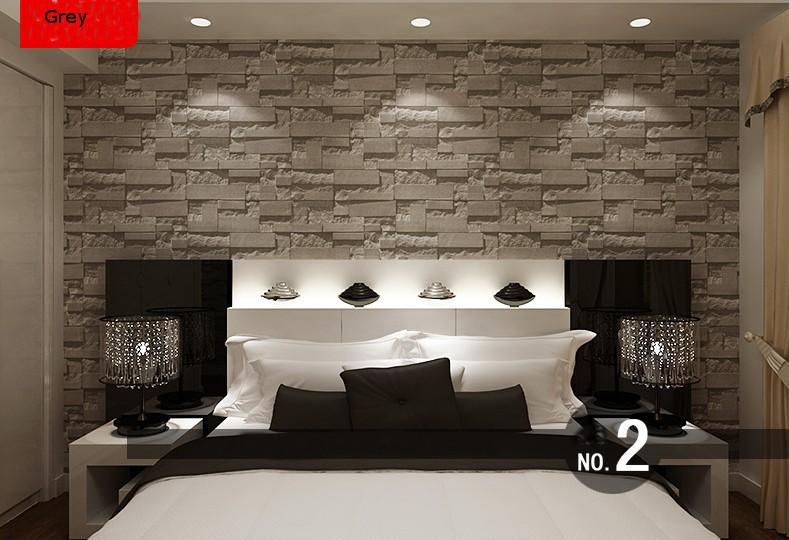 Modern Stacked Brick 3d Stone Wallpaper Roll Grey Brick Wallpaper Wall Background Wallpaper For Living Room Pvc Vinyl Wall Paper