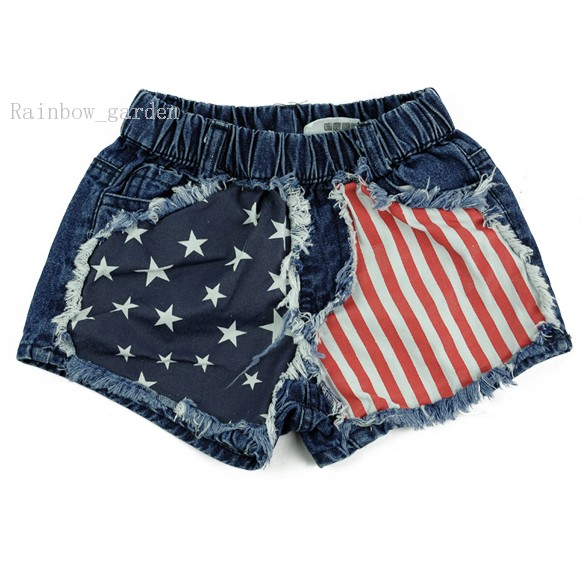 e76f293db875f Get Quotations · 2015 New Boy Girl jeans 100% cotton children United States  flag Pattern Short Pant 2