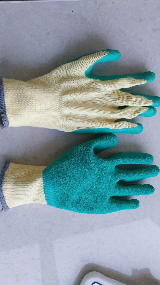 5 string of 21S cotton yarn latex coated gloves/wrinkle latex coated gloves