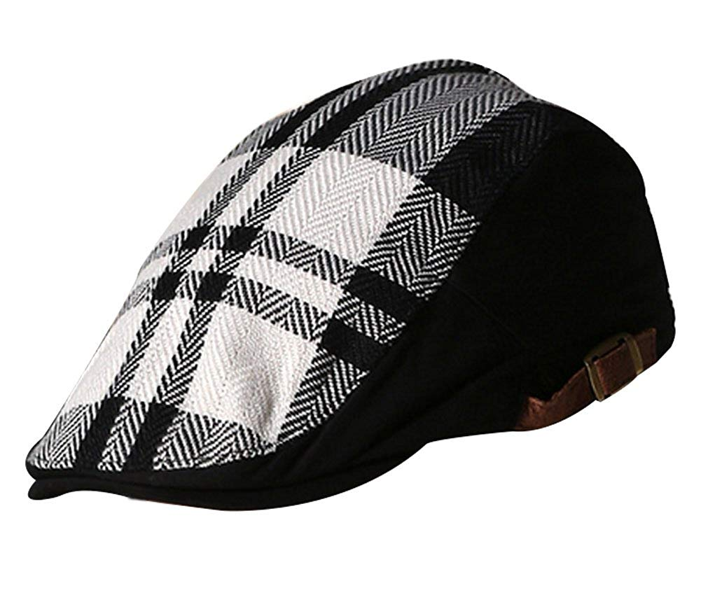 Get Quotations · Classic Wool Blend Newsboy Ivy Casual Beret Hat Black and  white Checked stripes suit to Men 6df487f090c8