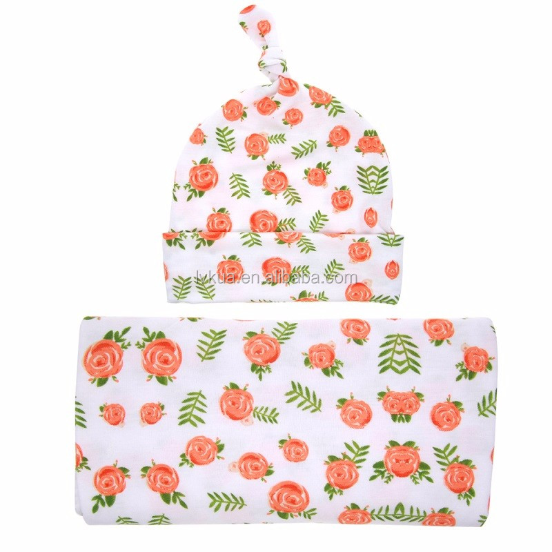 Newborn Swaddle Sack with Knot Top Floral Beanie Hat for Newborn Shower Gift Hospital Waddle Set
