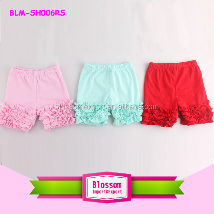 Summer Soft Cotton Children Baby Girls Icing Ruffle Shorts Adorable Kids Solid Stripes Ruffle Icing Shorts