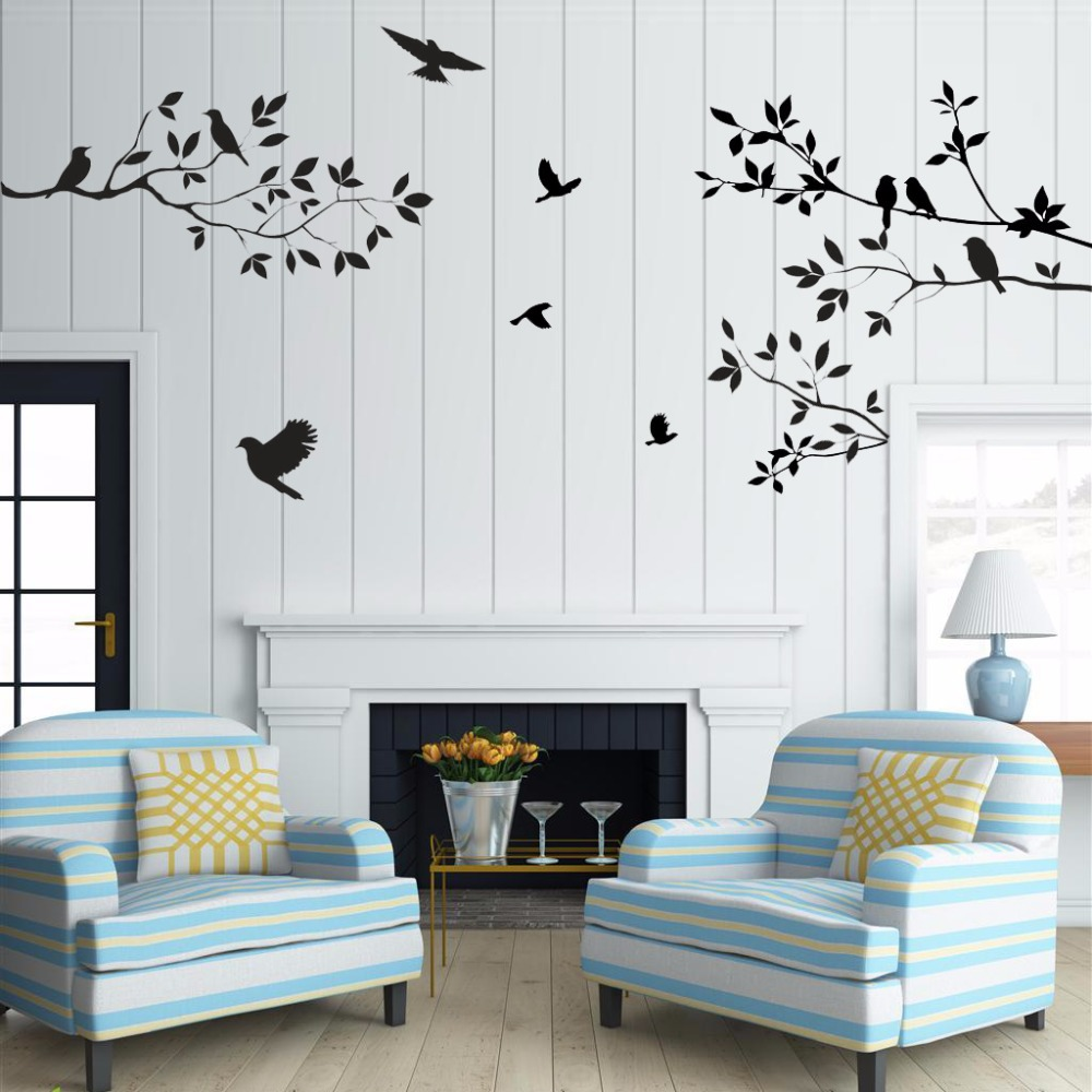sale birds tree wall stickers home decor living room diy. Black Bedroom Furniture Sets. Home Design Ideas
