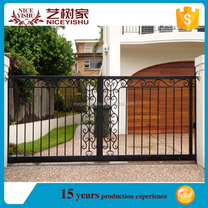 Yishujia Factory Vintage High Quality Wrought Iron Gate, sliding door iron grill design