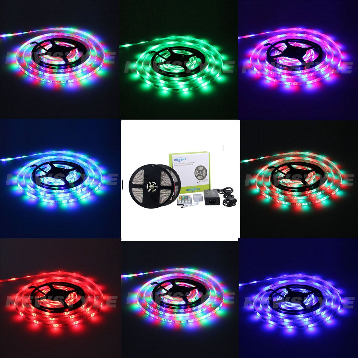 NEWSTYLE Two Rolls Waterproof Flexible LED Strip Light, LED Tape, 3528 SMD, 600 LEDs, 10M/32.8Ft, RGB Multi-colors, Pack of Two Reels 16.4-Feet 300 LED Light Strips & 44 Keys Infraed Remote Controller & 12V 5A Power Adapter