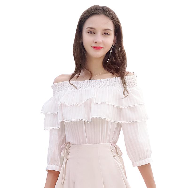 2018 early autumn new brand women's sexy word collar striped shirt sweet small fresh chiffon shirt фото