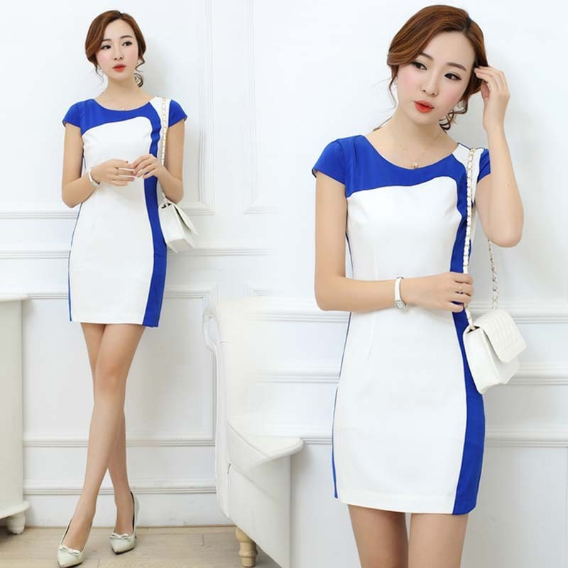 WA1682 2015 summer large size women's dress blue and white women one-piece dress