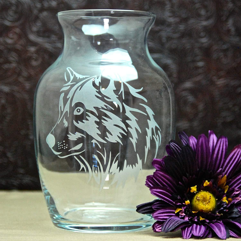7.5 Inch Glass Etched Wolf Head Skull Vase - Design 3