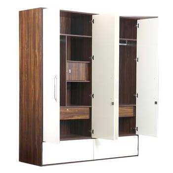 4 Door White Wood Wardrobe With Drawers