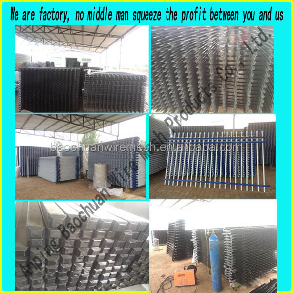 Factory fabricate powder coated black 3-rail aluminum fence with high quality