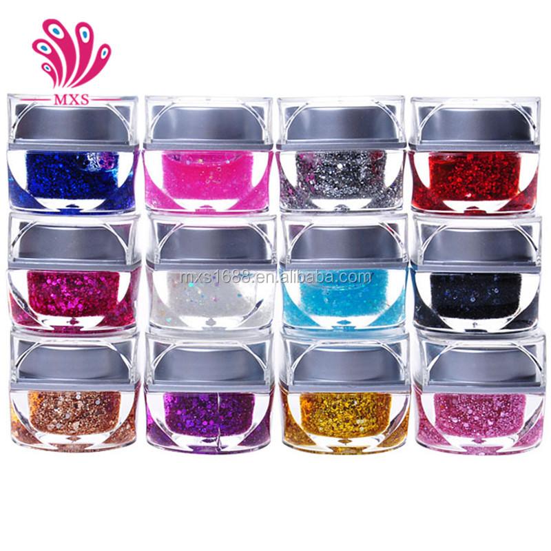 Nail Art UV Gel 12 Color Nail Art Decoration Glitter UV Builder Gel Acrylic Set
