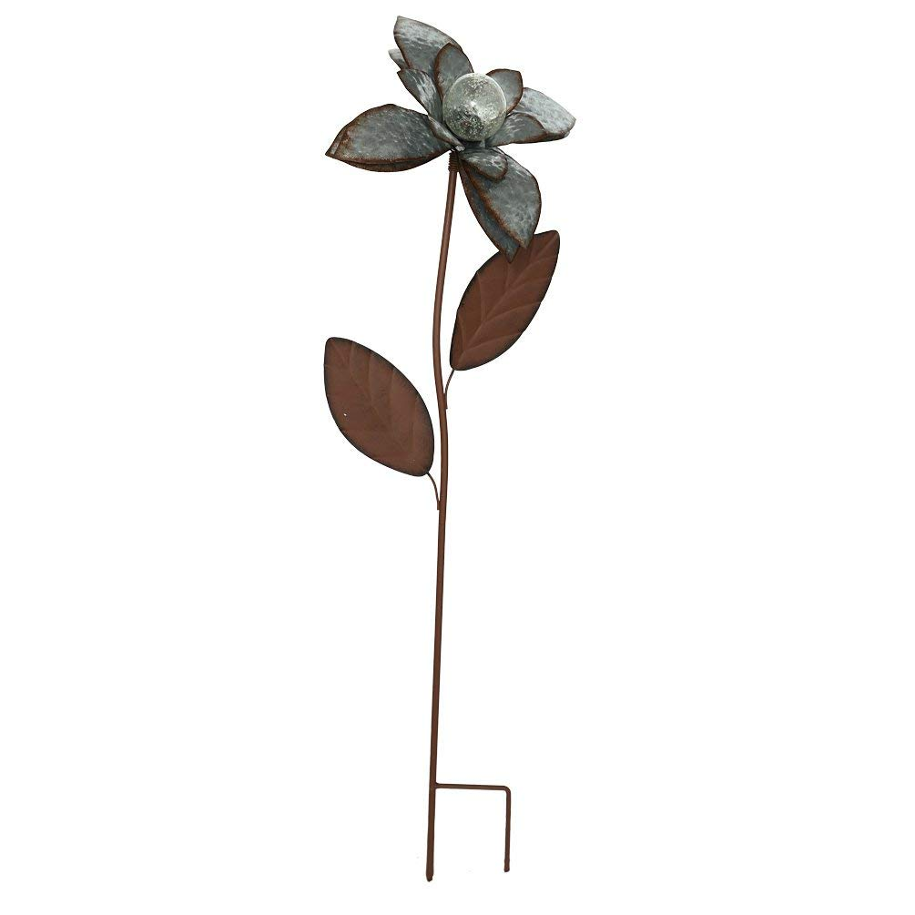 """CEDAR HOME Galvanized Floral Garden Stake Outdoor Glow in Dark Plant Pick Water Proof Metal Stick Art Ornament Decor for Lawn Yard Patio, 12""""W x 3.5""""D x 35""""H, Peony"""