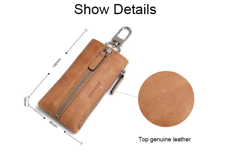 ขายส่งมัลติฟังก์ชั่ของแท้ cowhide หนัง unisex กระเป๋าสตางค์พวงกุญแจรถ key holder