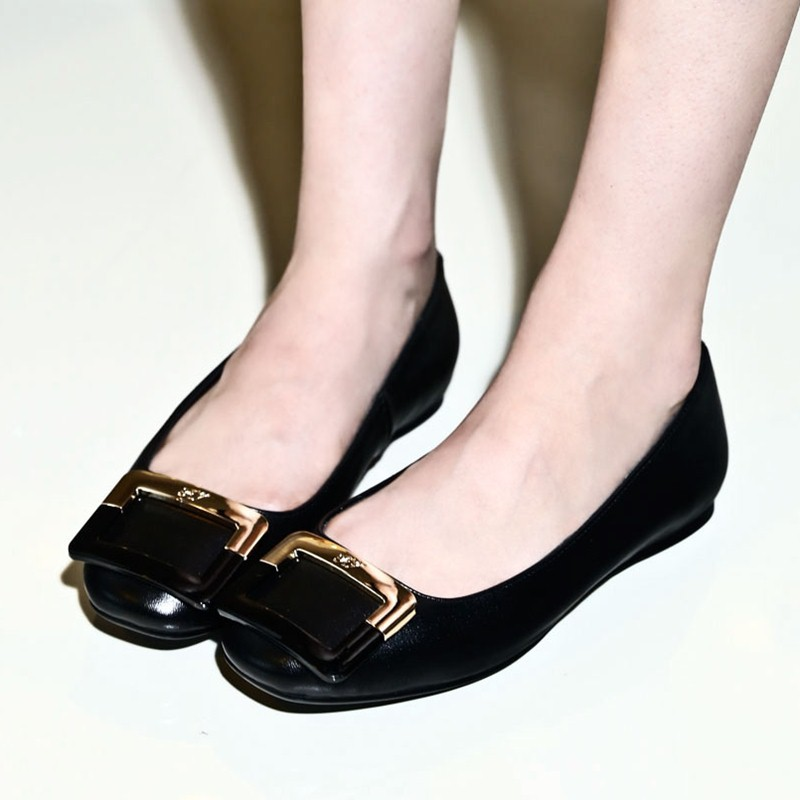 56f55c0c7b1 Get Quotations · office ladies sexy sweet low heels pink black flats shoes  round toe soft natural leather women
