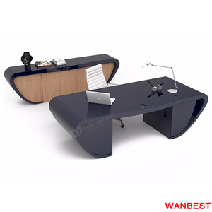 Factory Custom Marble Wood Curved Office Desk Manager Room Boss Working Table with Back Cabinet