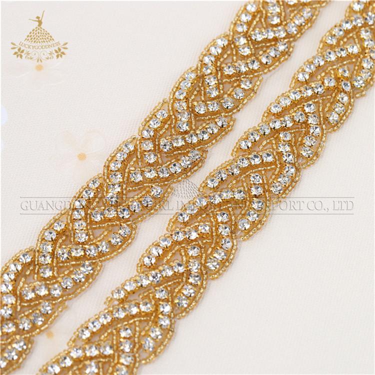 LG-1049 Hot fix abbigliamento oro guarnizioni di strass per abiti da ballo