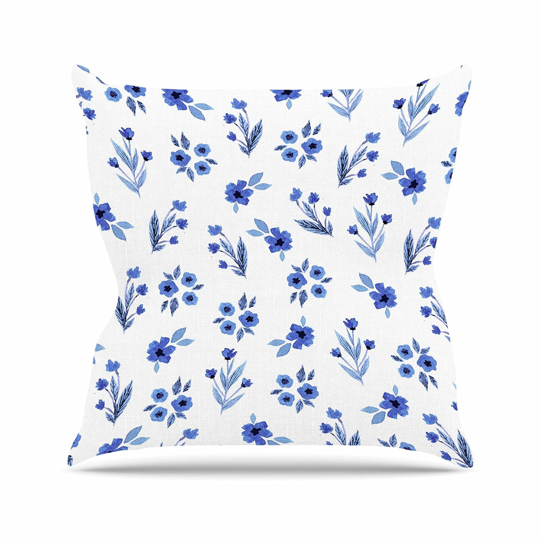 "KESS InHouse Starwberringo ""Blue Floral Pattern"" White Blue Outdoor Throw Pillow, 18"" x 18"""