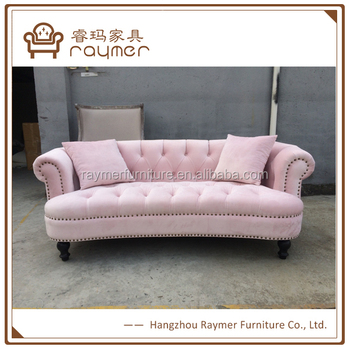 French Fabric Tufted Back Velvet Pink Sweet Lougne Chesterfield Sofa