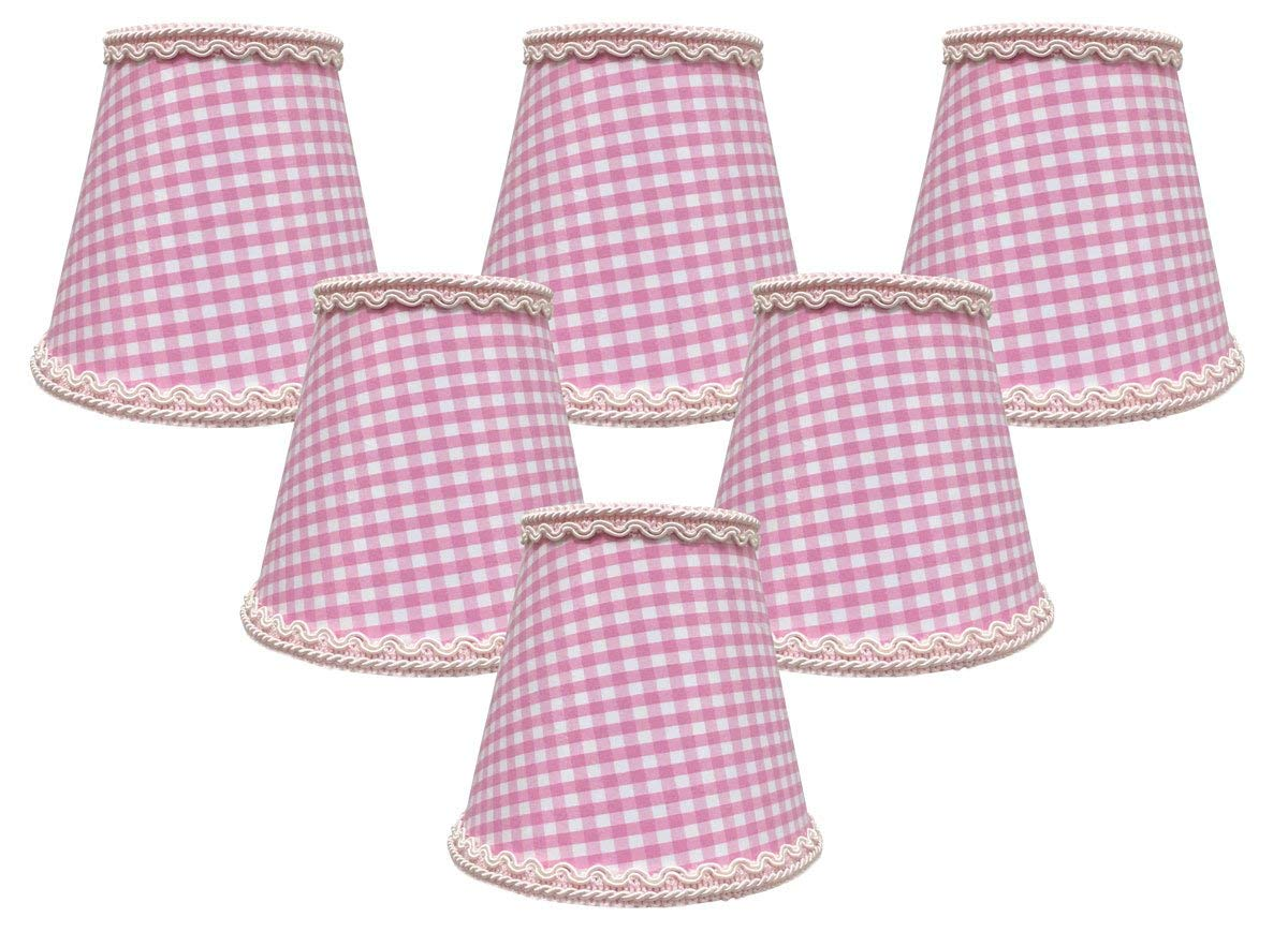 "Royal Designs, Inc CSO-1043-5GO-6 Royal Designs Gingham Empire Chandelier Lamp Shade with Decorative Trim, 3"" x 5"" x 4.5"", Clip-on-Set of 6, Pink, 6 Piece"