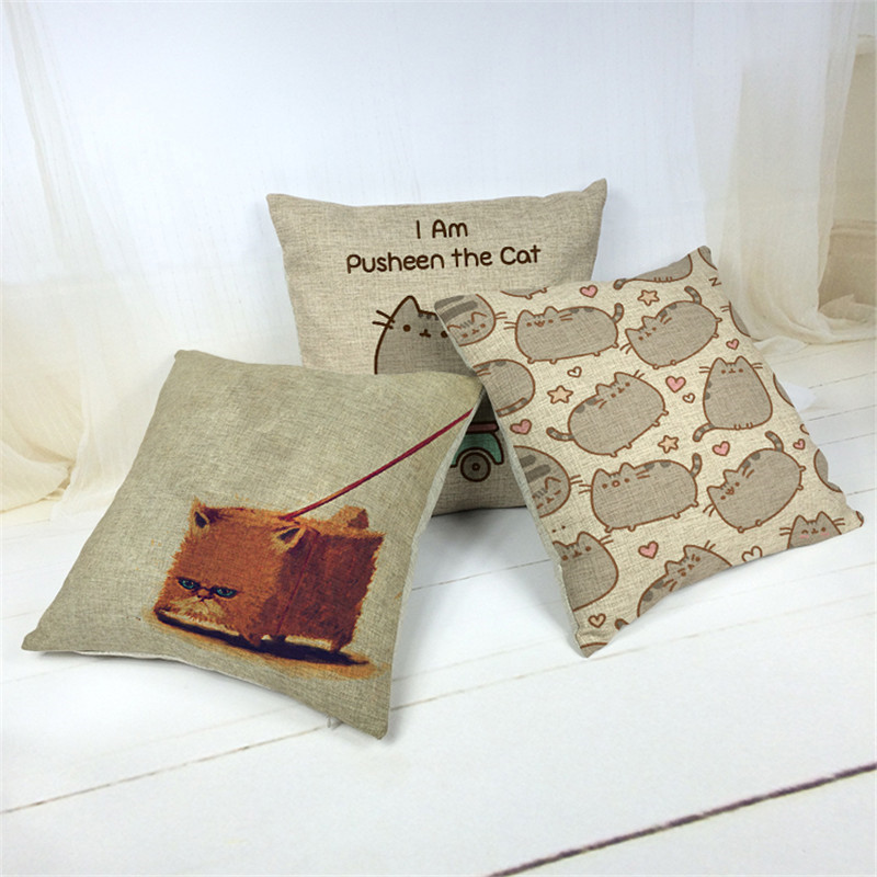 Cotton Linen Catroon Cat print Cushion Cover Rustic <font><b>Elegant</b></font> Car Pillowslip <font><b>Home</b></font> <font><b>Decoration</b></font> Pillowcase for Office Sofa 43x43cm