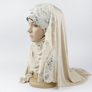 Hot fancy lace jersey cotton hijab scarf for scarf women hijab shawl