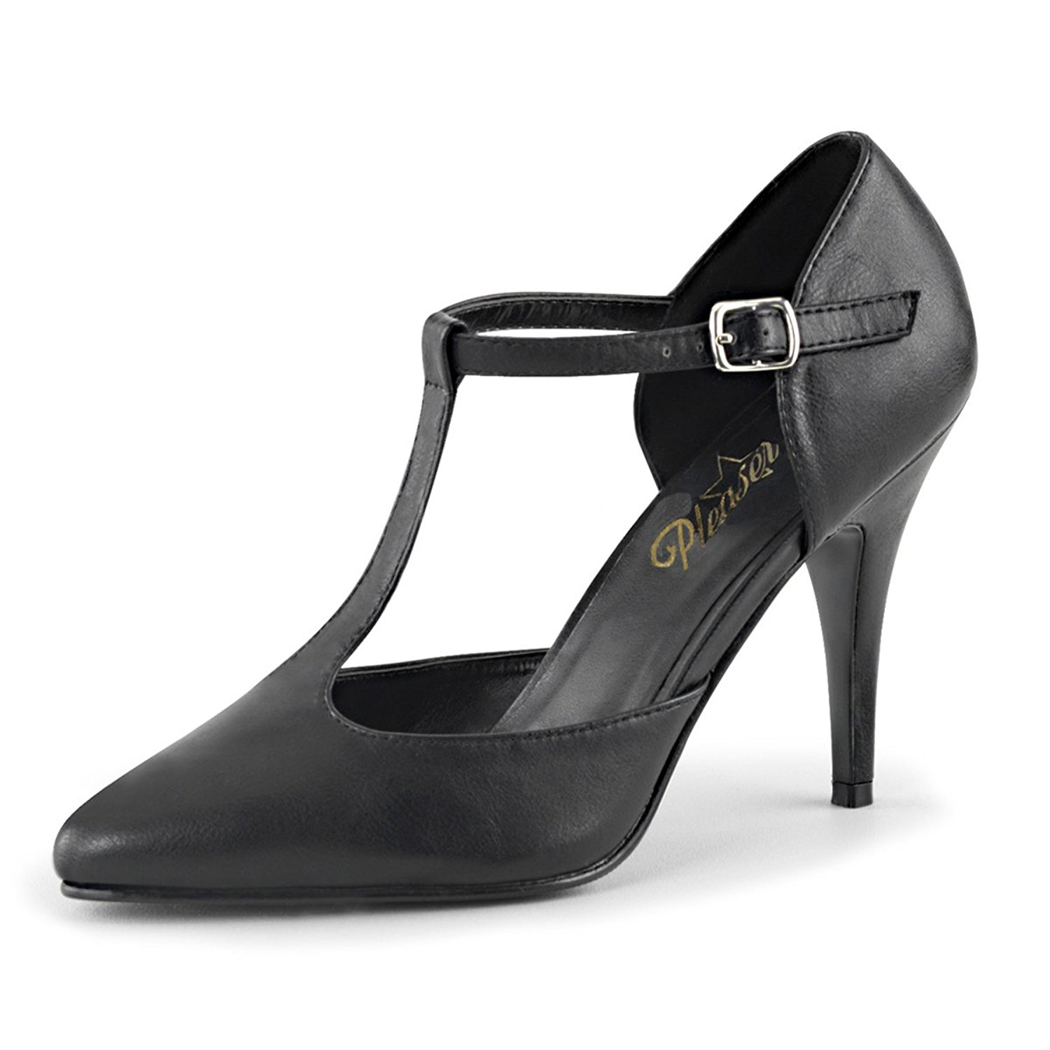 6e9ae3507aa5 Get Quotations · Summitfashions Womens Black T Strap Heels Classic D Orsay  Style Pump Matte 4 Inch Heels