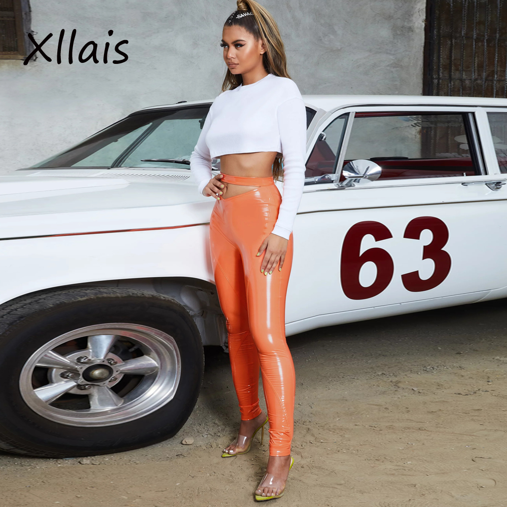 8095 Latex Faux PU Leather Pants Women Trousers Up High Waist Skinny Pants Pencil summer Sexy Pants Female