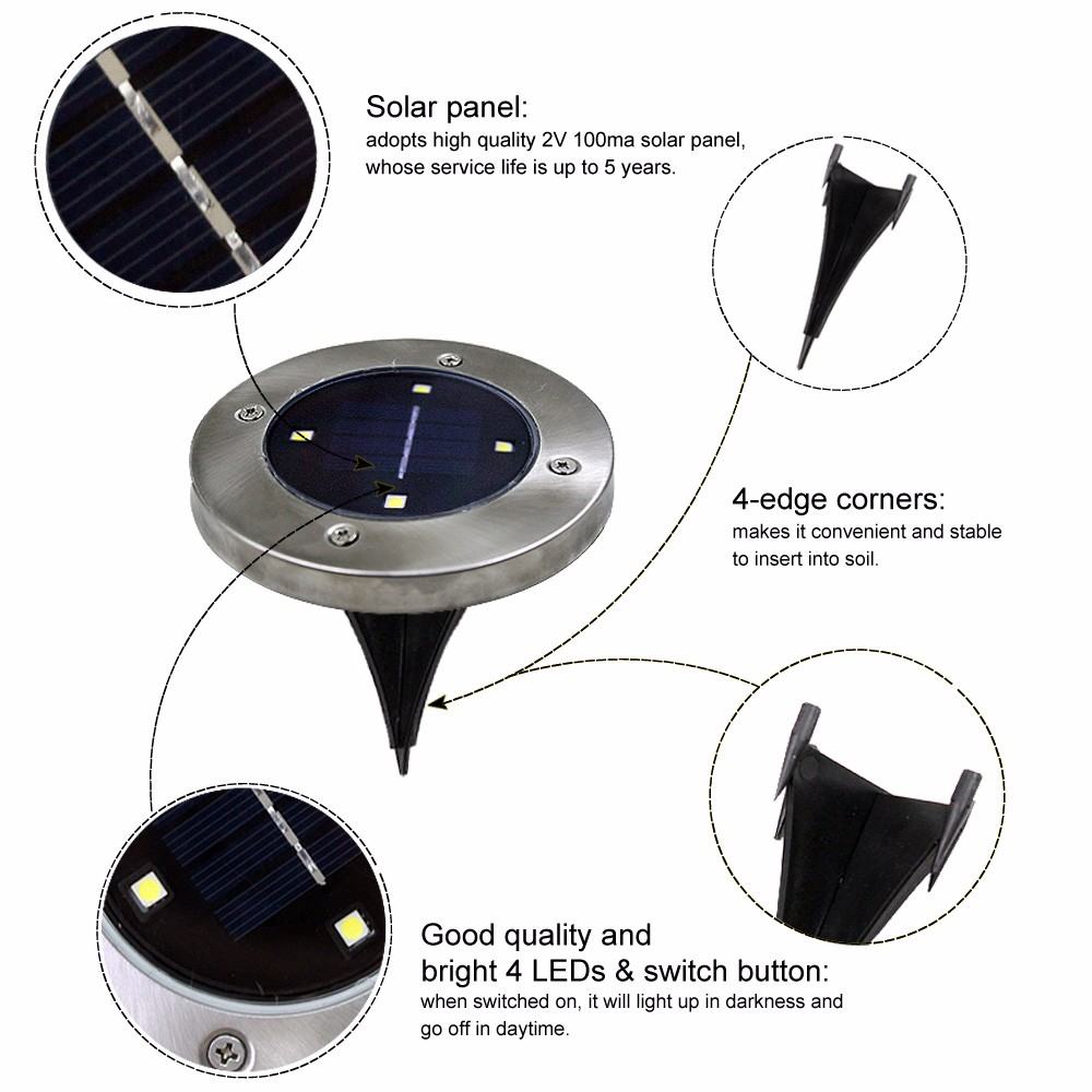 4 LED Solar Garden Lights Power Spike Ground Floor Waterproof Garden Outdoor Lighting for Landscape Lighting/Driveway