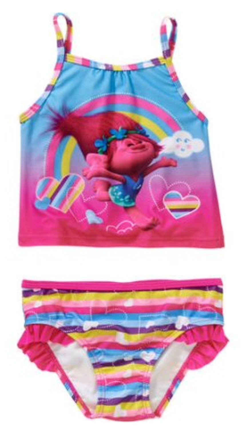 9054ac390fe7f Get Quotations · Dreamworks Trolls Poppy Toddler Girl Tankini 2-piece  Swimsuit