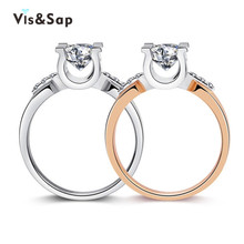 18k Gold Plated Rings for women wedding bands 2ct cz diamond engagement Bijoux Jewelry luxury Accessories