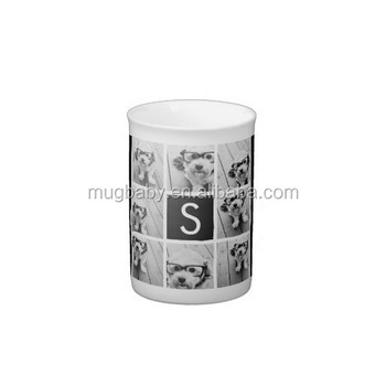 Black and White Photo Collage Custom Monogram Bone China Mug