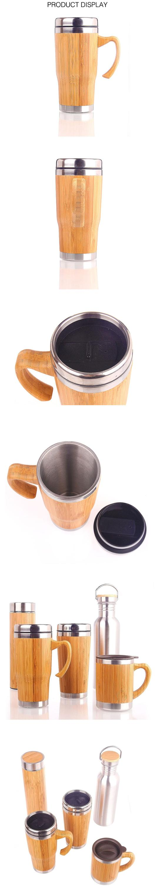 450ml/16oz BambooTravel Coffee Tumbler with Handle Stainless Steel Insulated Bamboo Coffee Tea Mug