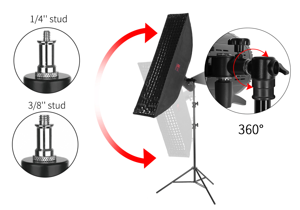 JINBEI MZ-2400FP 7.87ft / 240cm Photography Aluminium Air-cushion Light Stand with Reversible head for Strobe Light Studio Photo