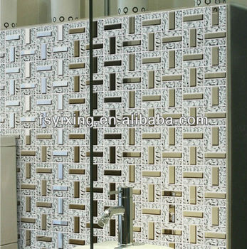 Wt13 Silver Plating Glass Tiles Mosaic Clear Glass Bricks For Wall ...