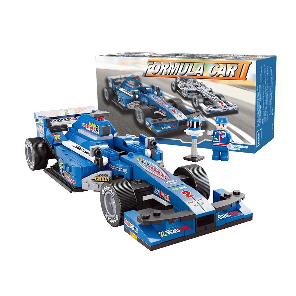 BXT Kids DIY Educational Assemble Toys Bricks Gift 1:24 Scale F1 Formula Racing Car Model 257pcs 3D Construction Building Block sets Compatible With minifigures(Blue)