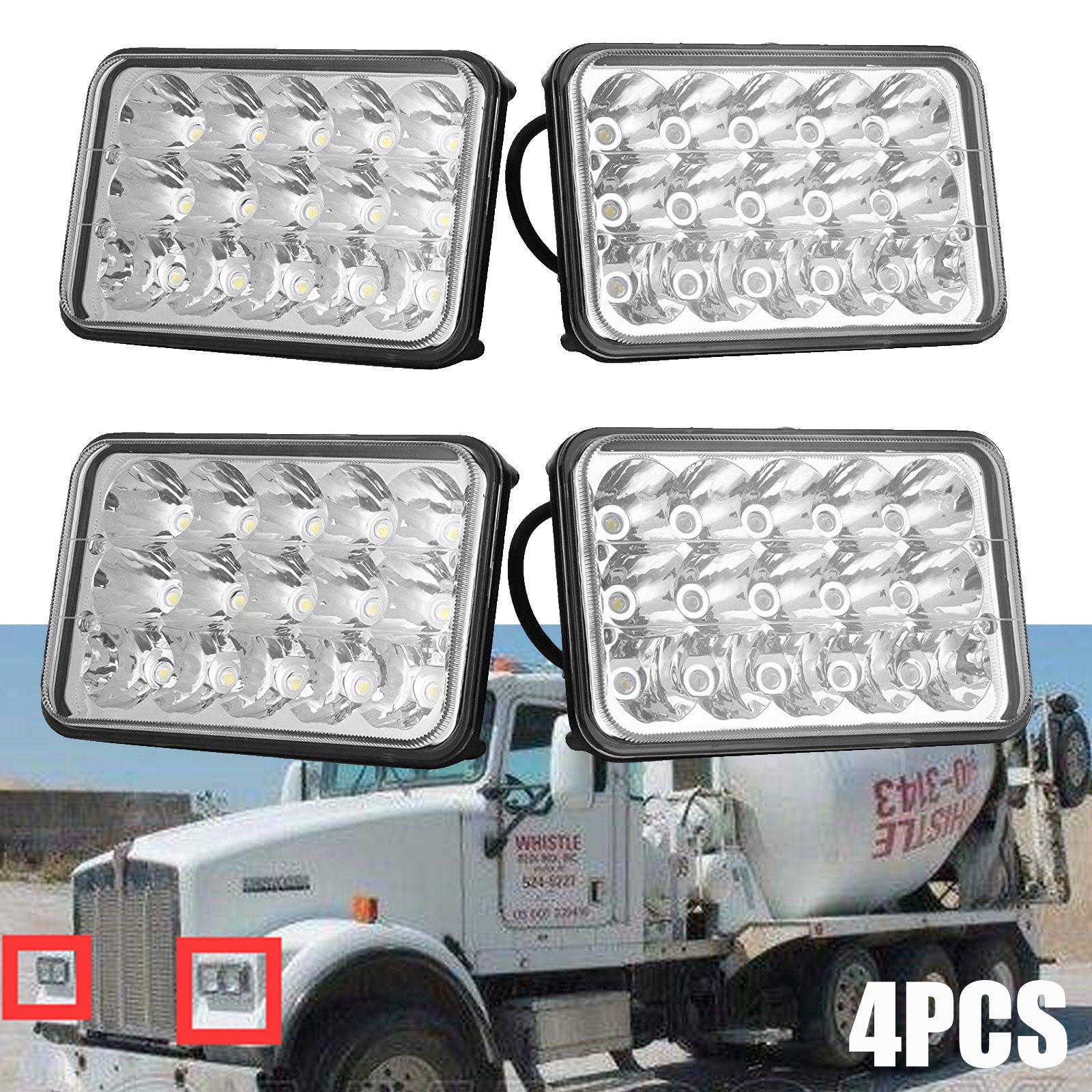 4PCS Sealed Beam Headlights for International Harvester 9300 (1988 to 1999 ), 4X6 Inch Rectangular LED Lights H4651/H4652/H4656/H4666/H6545/H4642/H4668 Replacement Kit Super Bright White High Low Beam