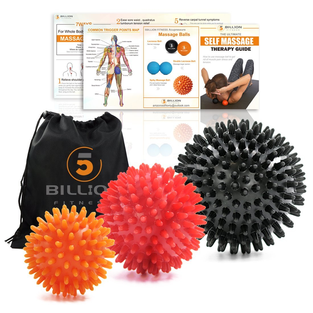 5BILLION Massage Balls - Lacrosse Balls, Massage Tennis Balls, Stress Balls - Deep Tissue Massage Tool for Myofascial Release, Muscle Relax, Physical Therapy