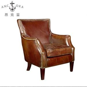 beautiful antique leather wingback armchair K502