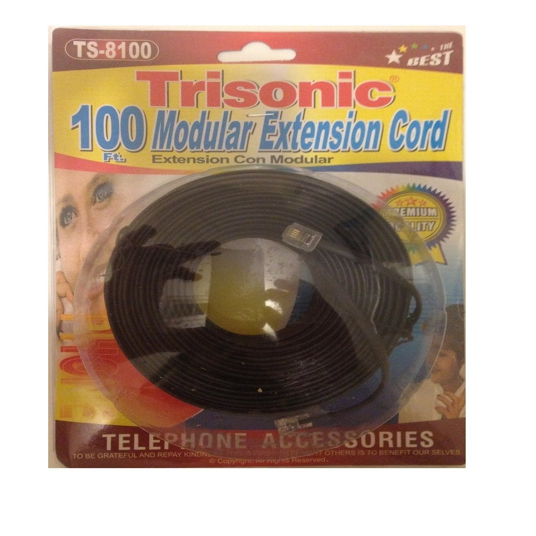 Buy Trisonic Telephone Phone Extension Cord Cable Line Wire 100 Wiring Feet Black
